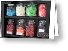 Candy In Container On Store Shelf Greeting Card