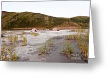 Canoe Tent Camp At Yukon River In Taiga Wilderness Greeting Card