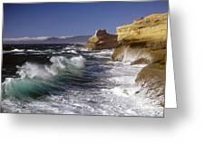 Cape Kiwanda With Breaking Waves Greeting Card