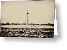 Cape May Lighthouse In Sepia Greeting Card