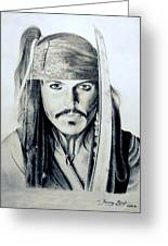 Johny Depp - The Captain Jack Sparrow Greeting Card by Tanmay Singh