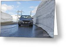 Car And Snow Wall Greeting Card