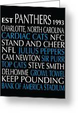 Carolina Panthers Greeting Card by Jaime Friedman