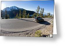 Cars Driving Along Hwy 89 Over Emerald Greeting Card