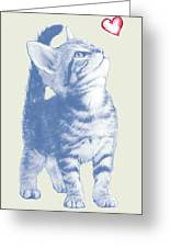 Cat With Love Hart Pop Modern Art Etching Poster Greeting Card