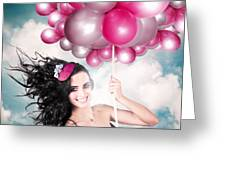 Celebration. Happy Fashion Woman Holding Balloons Greeting Card