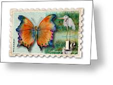 1 Cent Butterfly Stamp Greeting Card