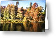 Cezanne Style Digital Painting Beautiful Landscape Of Autumn Trees And Colors Reflected In Lake Greeting Card