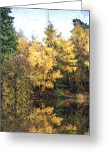 Cezanne Style Digital Painting Beautiful Vibrant Autumn Woodland Reflecions In Calm Lake Waters Greeting Card