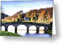 Cezanne Style Digital Painting Bridge Over Main Lake In Stourhead Gardens During Autumn. Greeting Card