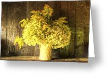 Cezanne Style Digital Painting Retro Style Still Life Of Dried Flowers In Vase Against Worn Woo Greeting Card