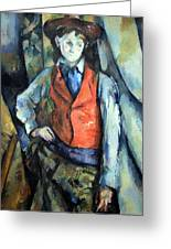 Cezanne's Boy In Red Waistcoat Greeting Card