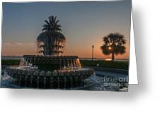 Pineapple Fountain Charleston Sc Sunrise Greeting Card