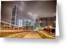 Charlotte Nc Usa Skyline During And After Winter Snow Storm In January Greeting Card