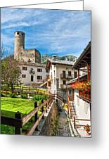 Chatelard Village With Castle Greeting Card