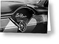 Chevrolet Belair Dashboard Clock And Emblem Greeting Card