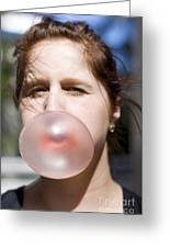 Chewing Gum Lady Greeting Card