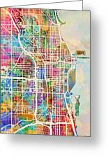 Chicago City Street Map Greeting Card