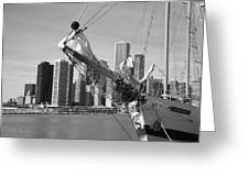 Chicago Skyline And Tall Ship Greeting Card