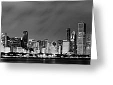 Chicago Skyline At Night In Black And White Greeting Card