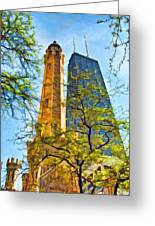 Chicago Water And Hancock Towers Greeting Card