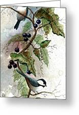 Chickadees And Blueberries Greeting Card