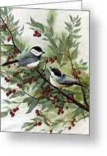 Chickadees And Cherries Greeting Card