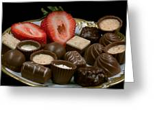 Chocolate On Plate With Strawberry Greeting Card