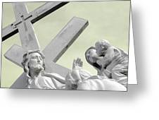 Christ On The Cross With Mourners Saint Joseph Cemetery Evansville Indiana 2006 Greeting Card