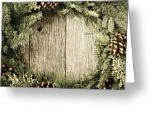 Christmas Wreath With Rustic Wood Background Greeting Card
