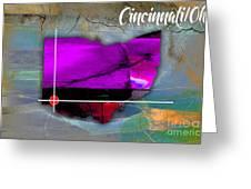 Cincinnati Ohio Map Watercolor Greeting Card