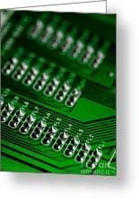 Circuit Board Bokeh Greeting Card
