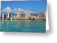 City At The Waterfront, Waikiki Greeting Card