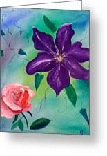 Clematis And The Rose Greeting Card