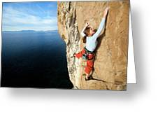 Climber Grabs A Hold While Climbing Greeting Card