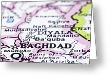 close up of Baghdad on map-Iraq Greeting Card