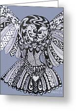 Close Up Owl Blue Greeting Card