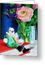 Clown Book And Flowers Greeting Card