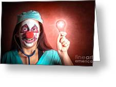 Clown Doctor Holding Red Emergency Lightbulb Greeting Card