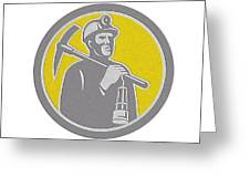 Coal Miner Hardhat With Pick Axe Lamp Front Circle Greeting Card