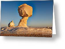 Cock And Mushroom Formation In White Desert Greeting Card