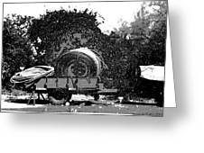 Coils Of Thick Plastic Pipe On A Carrier Wagon Greeting Card