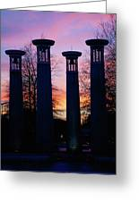 Colonnade In A Park At Sunset, 95 Bell Greeting Card