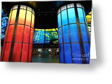 Colorful Glass Work Ceiling And Columns Greeting Card
