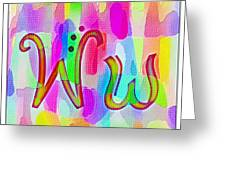 Colorful Texturized Alphabet Ww Greeting Card