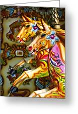 Colourful Fariground Horses On A Carousel Greeting Card