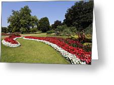 Colourful Flowerbeds In Hyde Park In London England Greeting Card