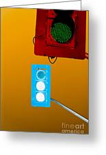 Confusing Wrong-color Traffic Lights And Copyspace Greeting Card