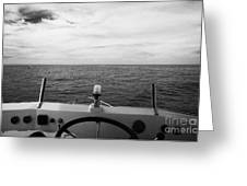 Controls On The Flybridge Deck Of A Charter Fishing Boat In The Gulf Of Mexico Out Of Key West Flori Greeting Card