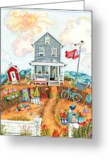 Corgie Street Cottage Greeting Card